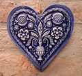 heart pomegranate prosperity blue ceramic 16x14