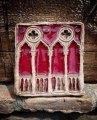finestra palazzo Ducale 14x13 cm deep red glass
