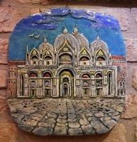 Basilica San Marco showcase ceramic hand-painted 27x30 cm