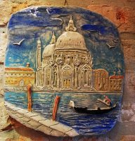 relief basilica of Health Venice 27x28 cm