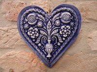 Favor heart painted glazed blue 15x14 cm