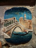 painted ceramic tile Rialto Bridge 25x20 cm