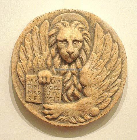 Bassorilievo in cotto Tondo Leone di San Marco fatto a mano