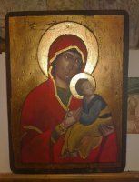 Blessed Virgin Orthodox gold leaf on wood